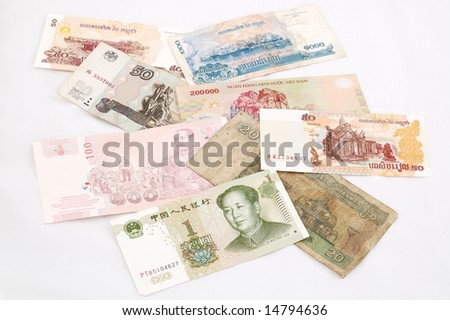 banknotes of Russia, Indonesia, Philippines, Vietnam, China, Cambodia, Myanmar