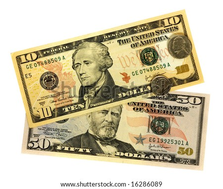 Banknotes of United States of America - dollars. There are included 50, 10 dollar bills and two coins - stock photo