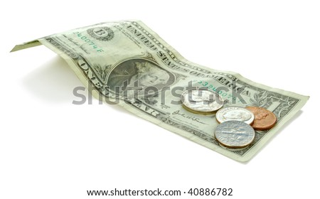 Banknotes of USA - dollars. There are included 1 dollar bill and some coins