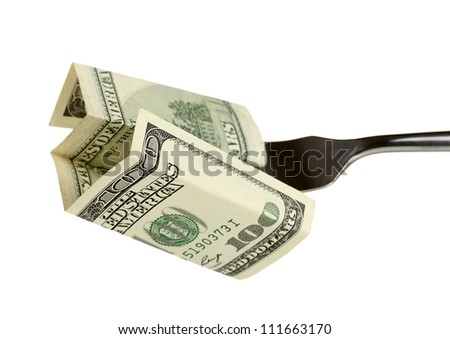 Banknotes on a fork on white background close-up - stock photo