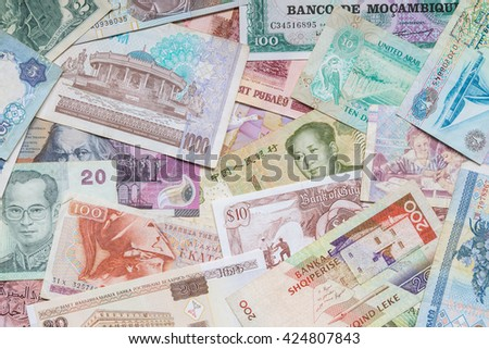 banknotes scattered on a table