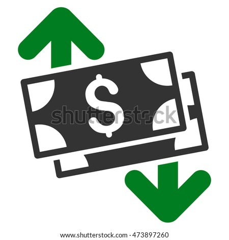 Banknotes Spending icon. Glyph style is bicolor flat iconic symbol with rounded angles, green and gray colors, white background.