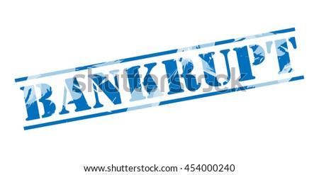bankrupt blue stamp on white background - stock photo