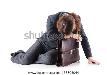 Bankrupt businesswoman isolated on white - stock photo