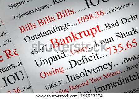 Bankrupt Concept - a conceptual look at bankrupty and owing money. - stock photo