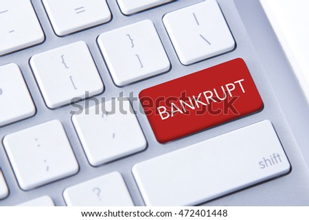 Bankrupt word in red keyboard buttons