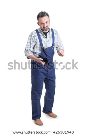 Bankruptcy and financial problems concept with full body mechanic showing empty wallet isolated on white background - stock photo