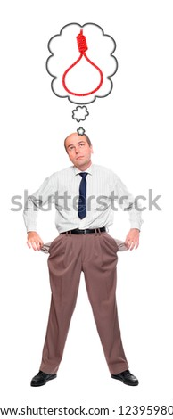 Bankruptcy concept.  Businessman holding his two empty pockets. - stock photo