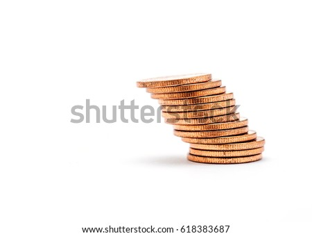 Bankruptcy concept, Saving money and account finance bank business concept, Stack of coin isolated on white background