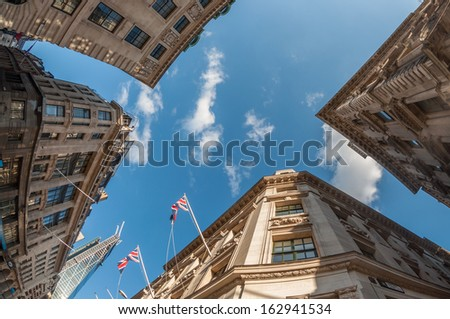 Banks and offices in the City of London - stock photo