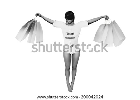 banksy style consumerism graffiti drawing of shopping woman - stock photo