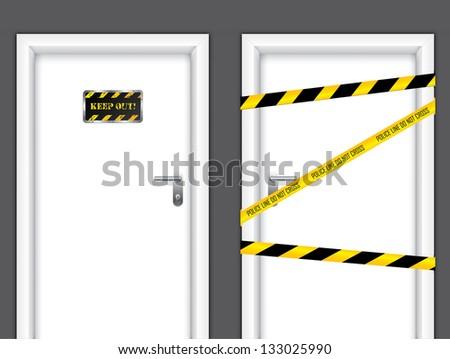 Banned doors - stock photo