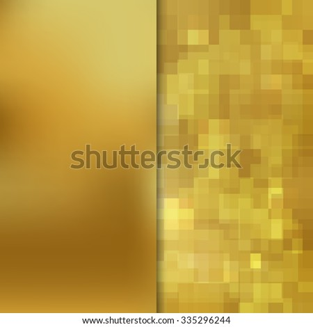 Banner design. Abstract template background with gold square shapes - stock photo