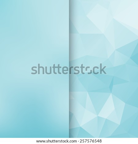 Banner design. Abstract template background with light blue triangle shapes. - stock photo