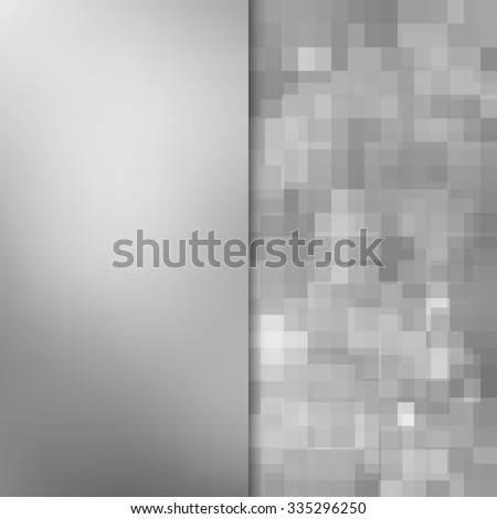 Banner design. Abstract template background with silver square shapes - stock photo