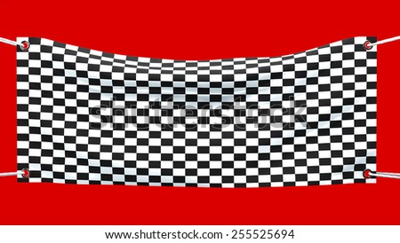 Banner flag arrival, finish, checkered flag