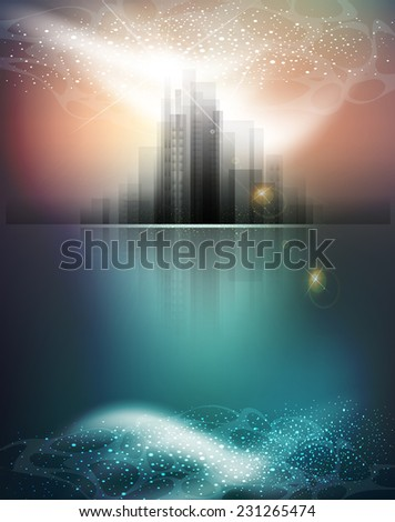 banner for business with the city and reflection - stock photo