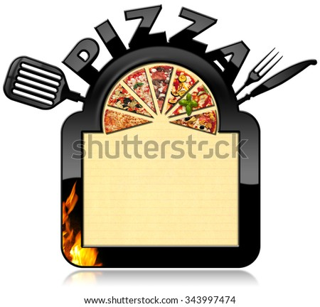 Banner for Pizza Menu / Banner with black frame, text Pizza, a slices of pizza, flames, cutlery and spatula. Template for a pizza menu isolated on white - stock photo