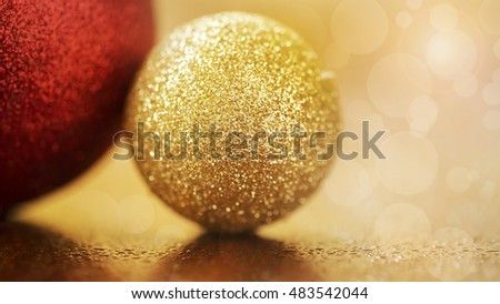 Banner of glittering golden Christmas decorations