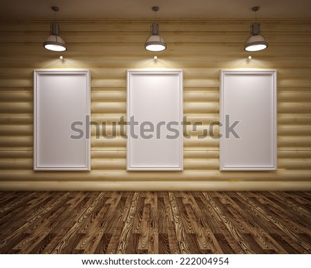 Banner on wood  wall with lamps and floor