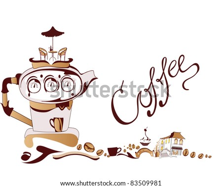 Banner with a coffee machine - stock photo