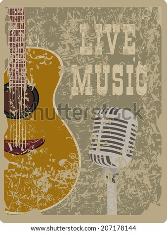 banner with an acoustic guitar and microphone on a grunge background - stock photo