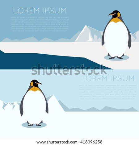 Banner with antarctica and penguins - stock photo