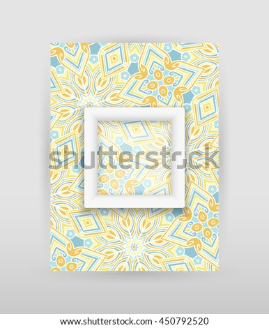 Banner with geometric pattern and transparent square with white frame. Raster version - stock photo