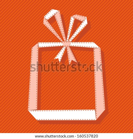 Banner with gift box made from light paper ribbon. Origami modern simple red background with text box for presentation. Original greeting, invitation card Valentines Day, Christmas, birthday