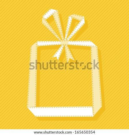 Banner with gift box made from paper ribbon. Origami modern simple background with text box for presentation. Original greeting, invitation card Valentine's Day, Christmas, wedding, birthday