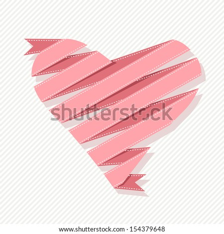 Banner with heart made from pink paper ribbon. Origami modern background with text box for presentation. Original greeting, invitation card Valentines Day, wedding. Cute decorative illustration