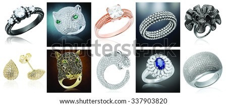 Banner with jewelry on a mixt background  - stock photo