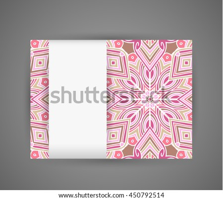 Banner with pink mandala pattern and white vertical paper tape. Raster version - stock photo