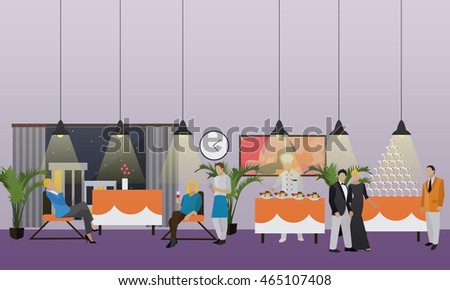 Banner with restaurant interior. People having dinner in cafe. Party concept.