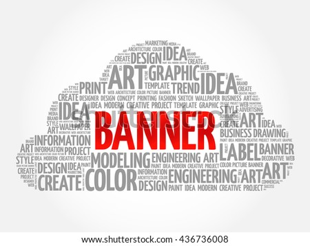 BANNER word cloud, creative business concept background - stock photo