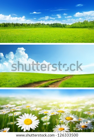 banners of spring fields and flowers - stock photo