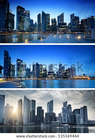 banners of sunset in Singapore - stock photo