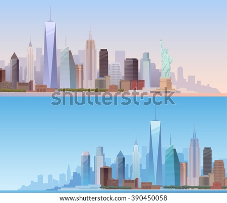 Banners of the urban landscape of New York. Cityscape. Skyline. Flat design. - stock photo