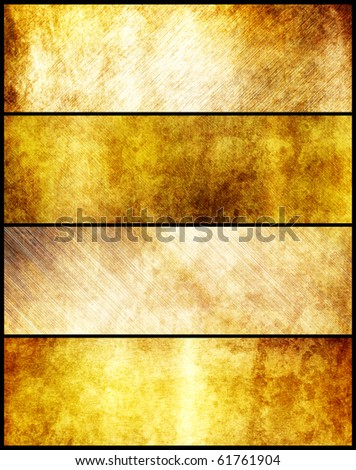 Banners set of gold metal texture - stock photo