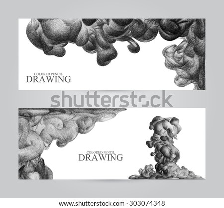 Banners with abstract cloud of ink drawn by hand with colored pencils. Watercolor in water. Holi. Liquid ink. Pencil drawing. Place for text. Banners for web. Colorful header. Black and white - stock photo