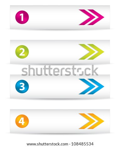 banners with special colored arrows and icons - stock photo