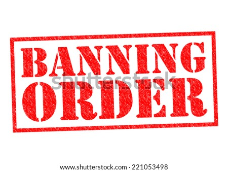 BANNING ORDER red Rubber Stamp over a white background. - stock photo