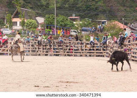 Banos, Ecuador - 30 November 2014: Young Latin Cowboy Chasing A Bull, Public Competition, South America In Banos On November 30, 2014 - stock photo