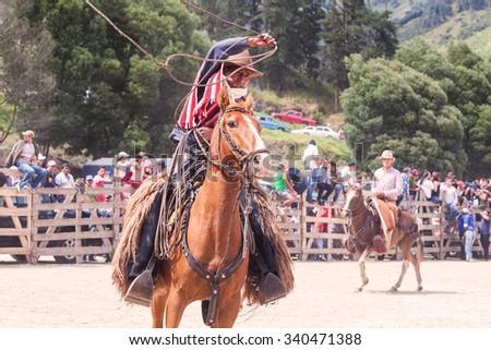 Banos, Ecuador - 30 November 2014: Young Latin Cowboy Riding A Horse And Throwing A Lasso Trying To Catch A Bull In Banos On November 30, 2014 - stock photo