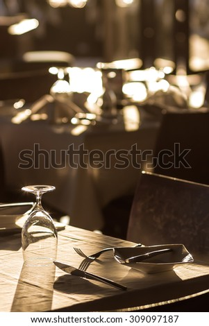banquet tables setting at a restaurant