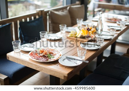 Banquet wedding table setting glass on evening reception