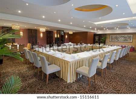 banqueting hall in hotel - stock photo