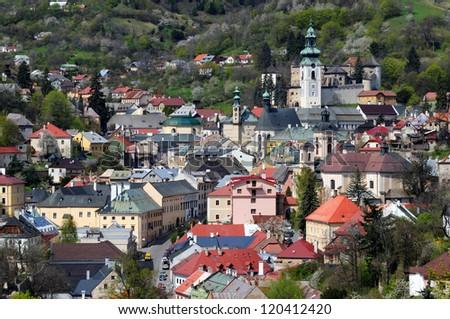 Banska Stiavnica historical mining town Slovakia, Unesco - stock photo