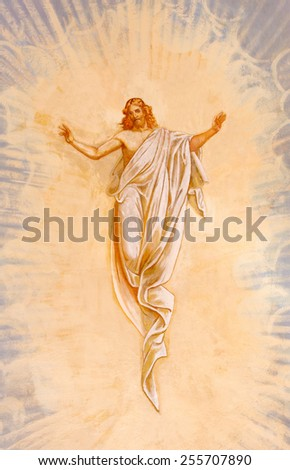 BANSKA STIAVNICA, SLOVAKIA - FEBRUARY 20, 2015: The Resurrected Christ fresco in the middle church of baroque calvary by Anton Schmidt from years 1745. - stock photo