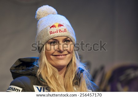 Bansko, Bulgaria - February 27,2015 :Lindsey Vonn (USA) at the Audi FIS Alpine Ski World Cup Ladies' Super G on February 27, 2015 in Bansko, Bulgaria - stock photo